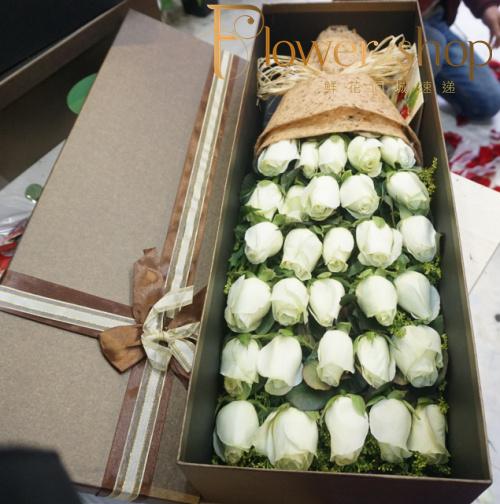 晋中鲜花配送运城送花33朵白玫瑰鲜花礼盒生日送朋友恋人同城速递