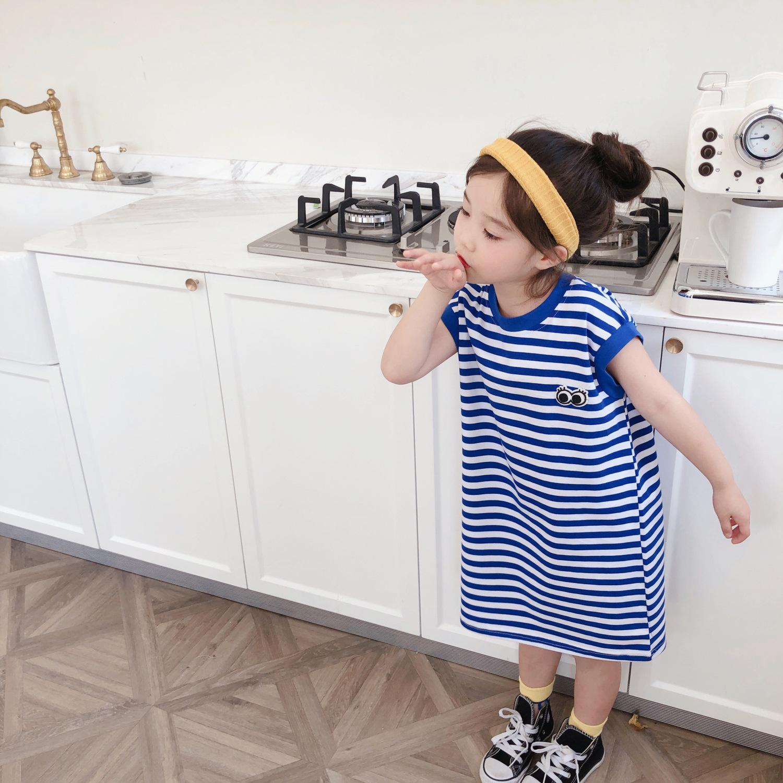 女童T恤裙条纹海军风2020夏季新款韩版宝宝海魂无袖中长款连衣裙