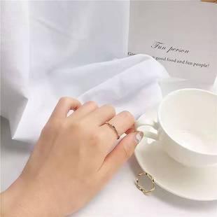 韩国ins极简冷淡系碧波海浪纹戒指优雅百搭光圈食指环尾戒潮人女