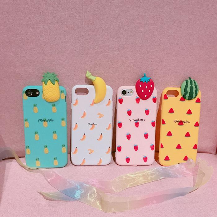 立体卡通清新水果苹果X手机壳iphone8/7plus硅胶套6s软壳情侣款女