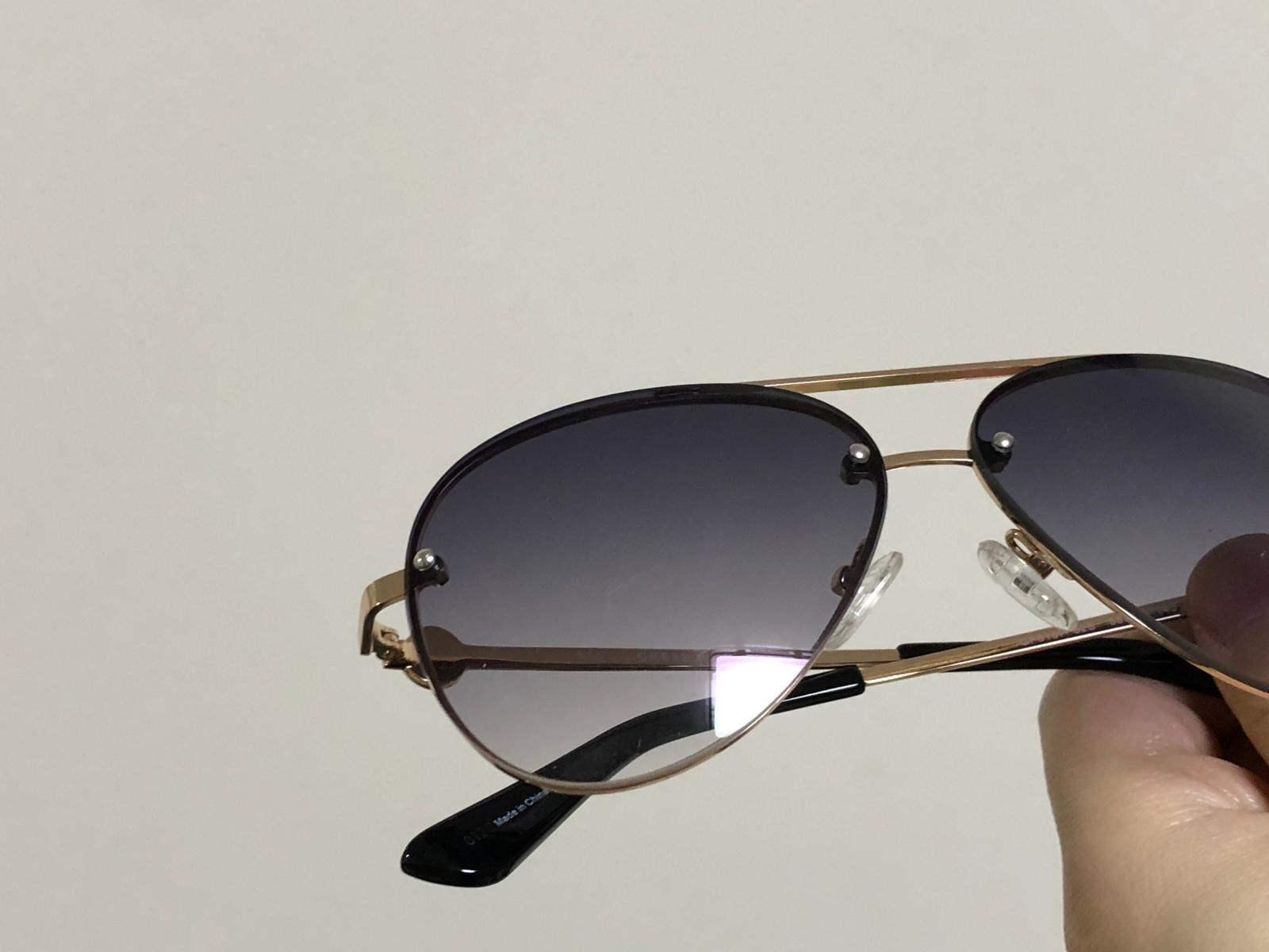 gu 女款镶钻无框太阳眼镜 飞行员款蛤蟆镜墨镜 21年新款 gf6107