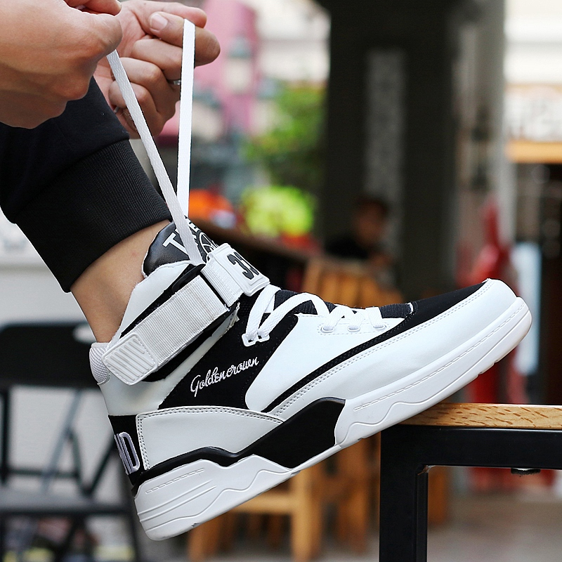 Autumn Korean version of skateboard high top sports casual board shoes middle top hip hop students inner increase mens shoes breathable basketball shoes
