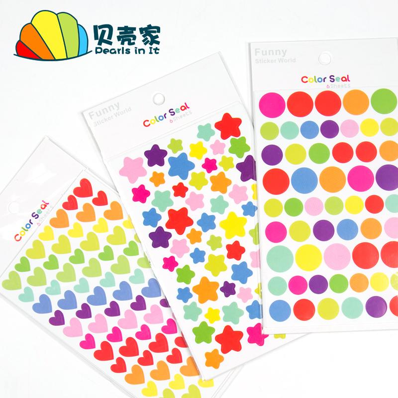 Корея творческий награда поощрять наклейки мультики цвет дневник рука проводка декоративный паста точка любовь пятиконечная звезда ребенок diy