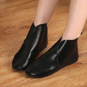 子木西遇秋冬牛皮女单靴复古平底舒适原宿一脚蹬纯手工真皮短靴子