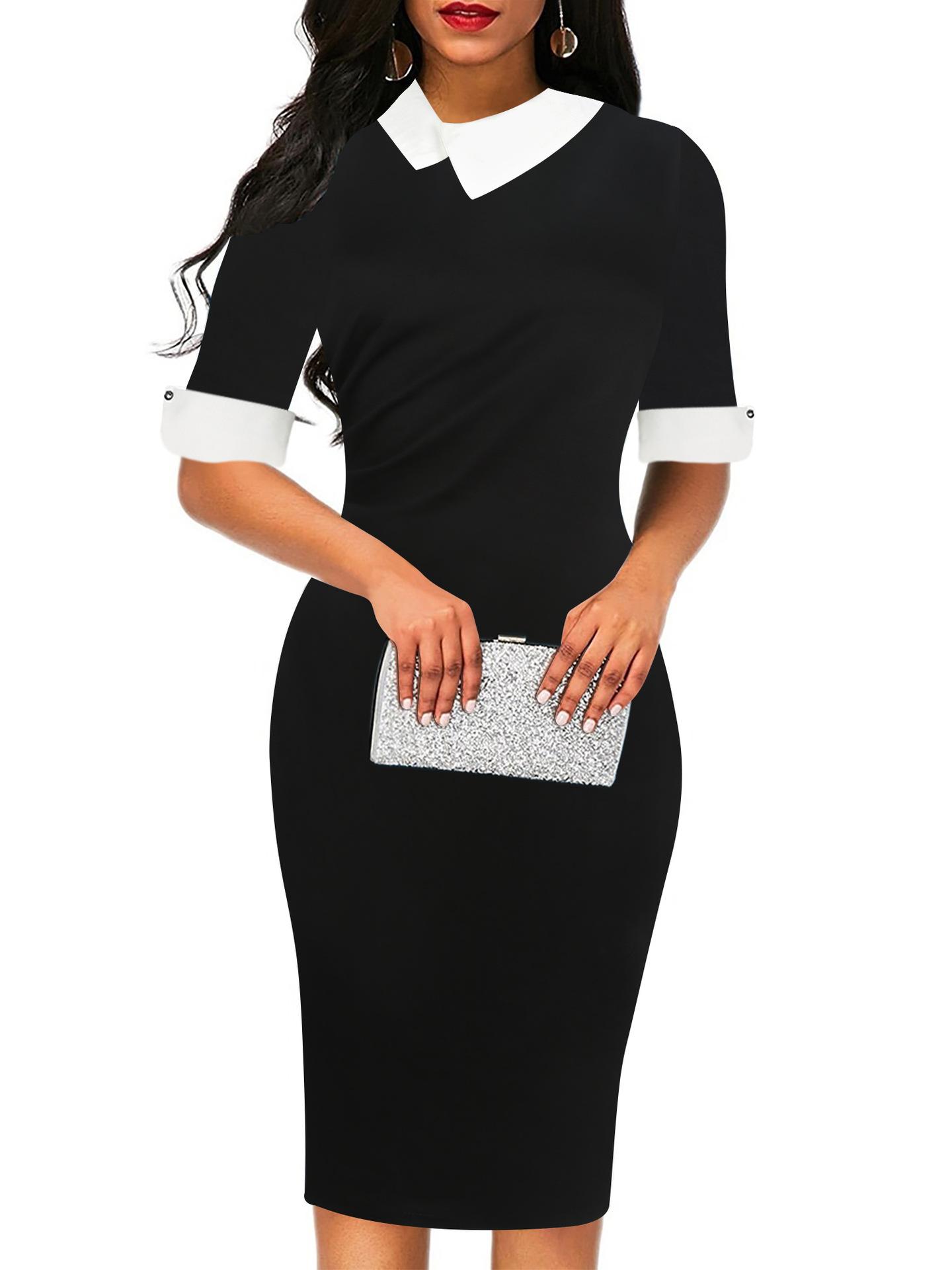 亚马逊新款高品质纯色五分袖娃娃领包臀及膝职业铅笔女装连衣裙