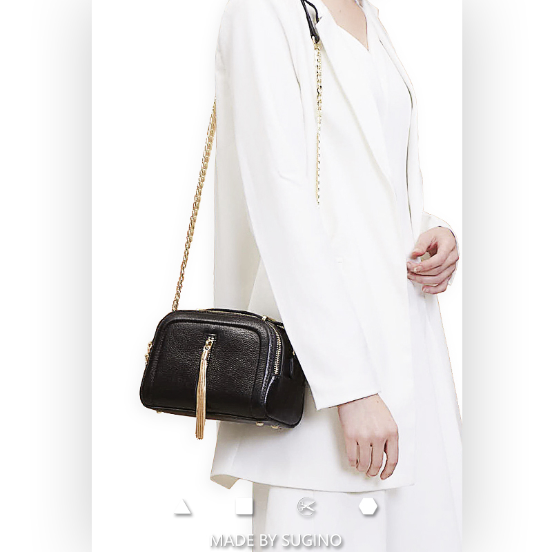 (SALE!) MBS Shanye holiday Series classic fringe small square bag with double shoulder belt design tofu chain