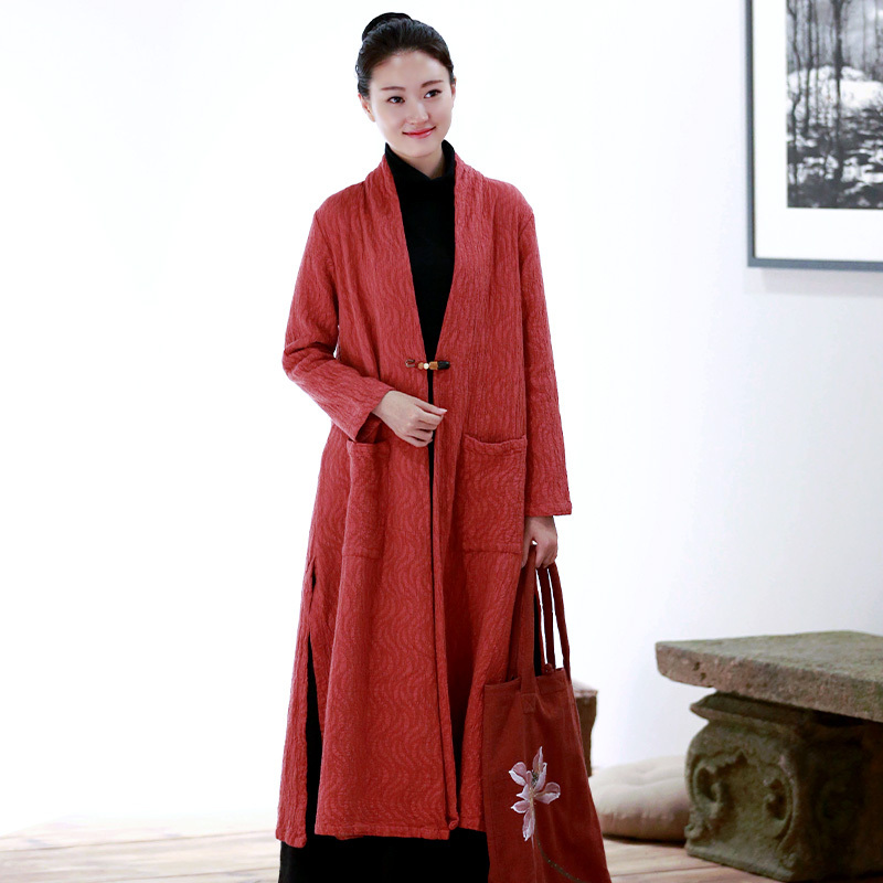 Buddha smile edge autumn and winter Tang suit cotton and linen improved Hanfu tea suit female meditation dress Chinese style