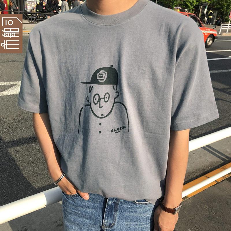 �n�� 市舶司男�b2018夏�b新款��s�A�I�D案短袖T恤男潮LR1377