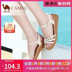 骆驼女鞋夏季真皮平底中跟凉鞋韩版简约百搭孕妇坡跟鞋子