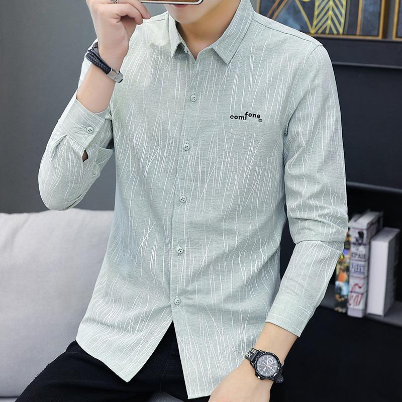 利郎秋冬新款青年休闲男装长袖衬衫帅气男士韩版修身寸衫衬衣上衣