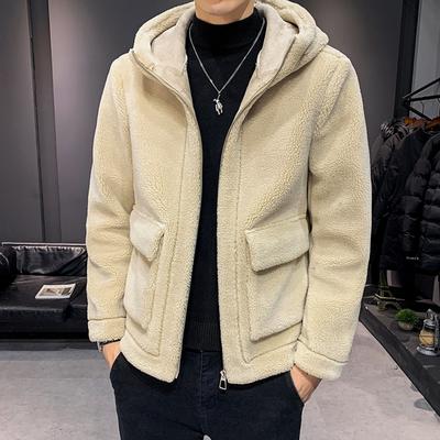 [木木]2019新款冬装男士加厚羊羔毛<em>夹克</em>外套 A011-D228*P135 米色