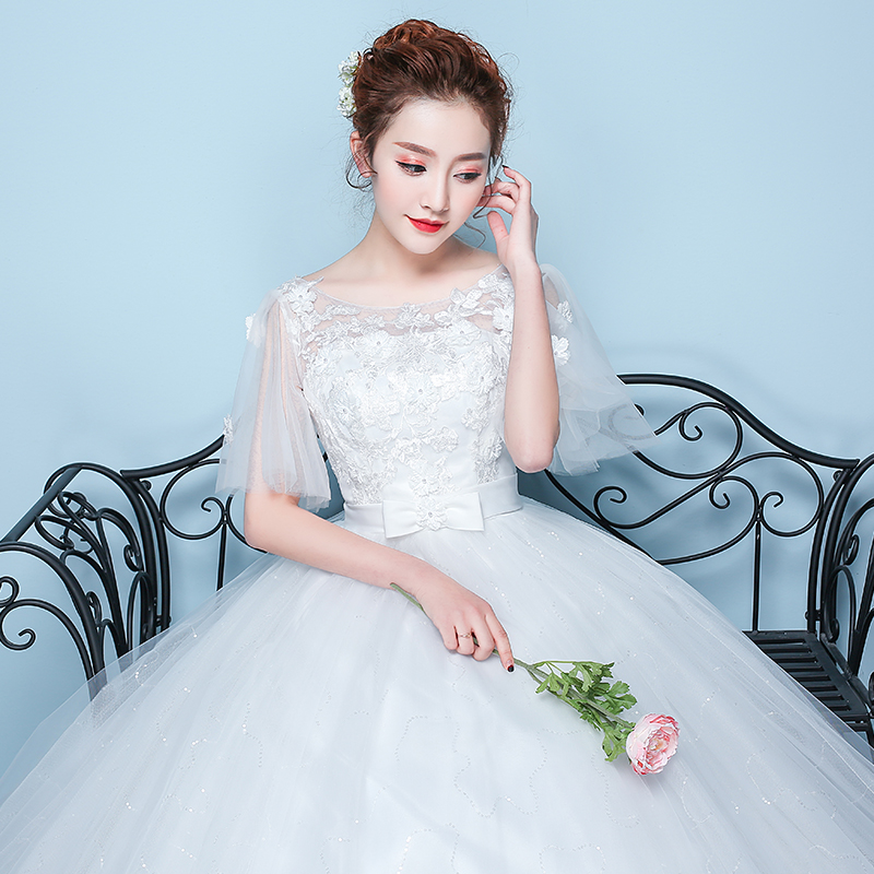 2018新款夏天新娘结婚一字肩婚纱礼服韩式齐地简约森系轻婚纱大码