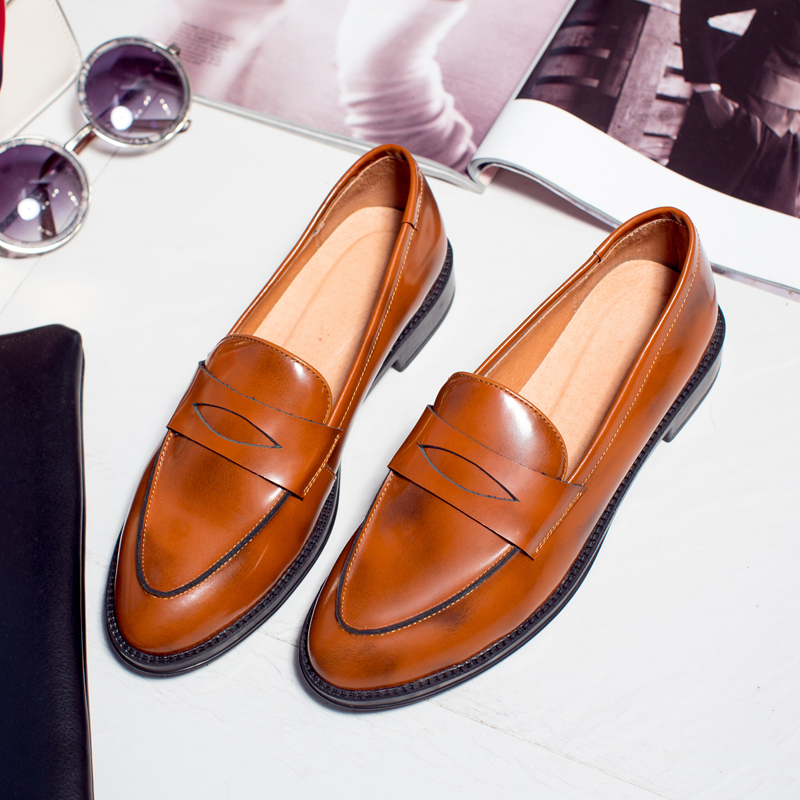 Baroque womens shoes, all in one, flat sole, Oxford Shoes, black moccasin shoes, retro British Academy shoes