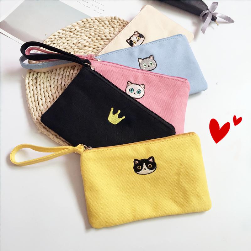 韩国卡通可爱迷你小钱包女零钱袋拉链帆布手拿包手机包布艺零钱包