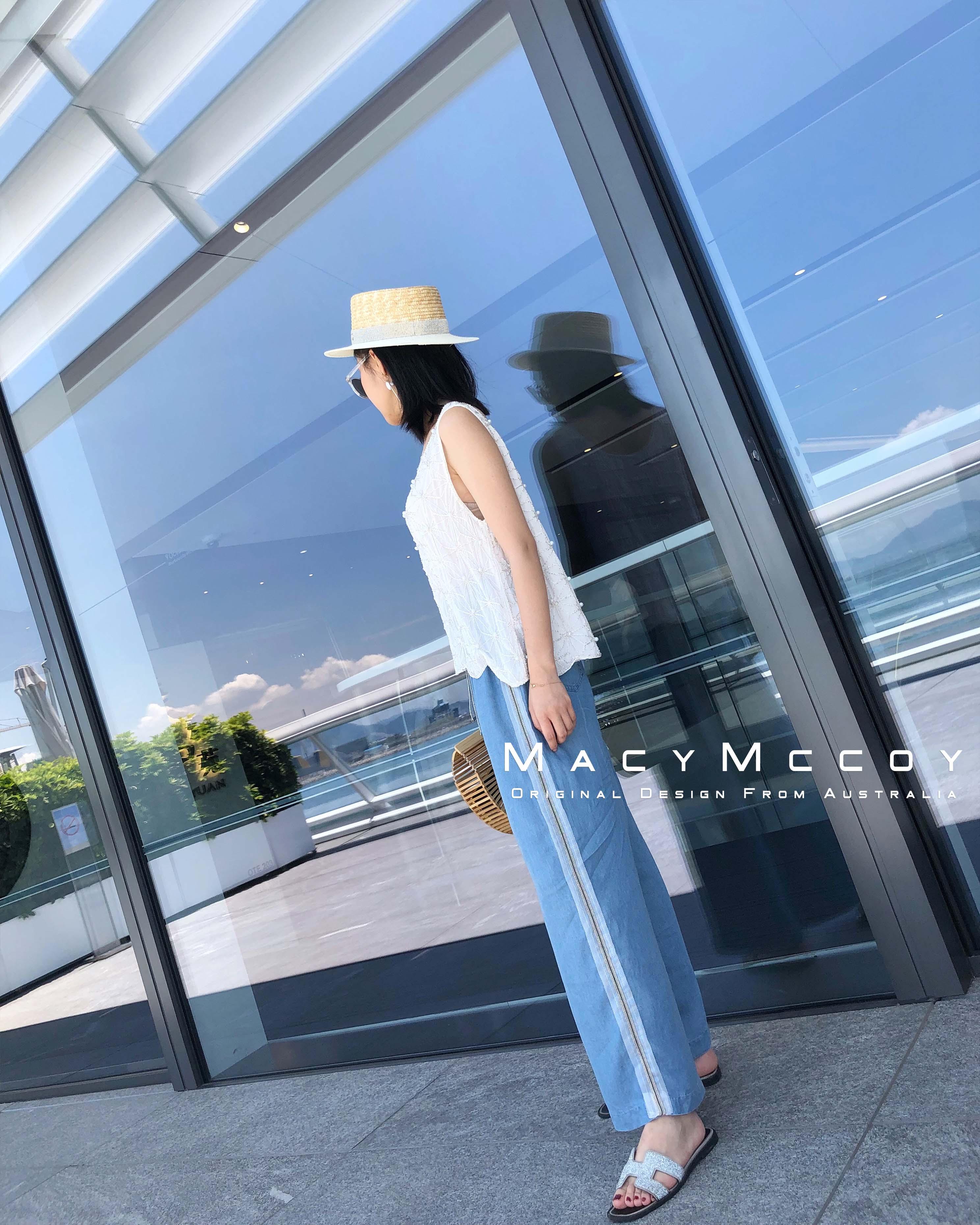 MacyMccoy20118夏季新品Bling织带牛仔阔腿裤宽松女夏季九分裤