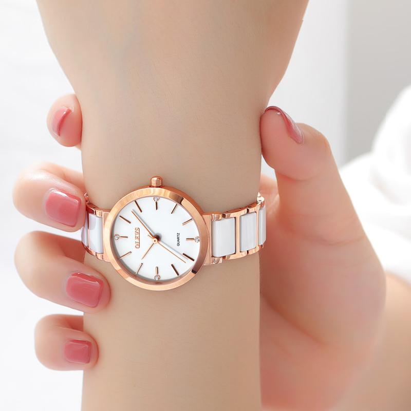欧利时陶瓷手表女白色时尚专柜简约手表休闲防水石英表新款礼品表
