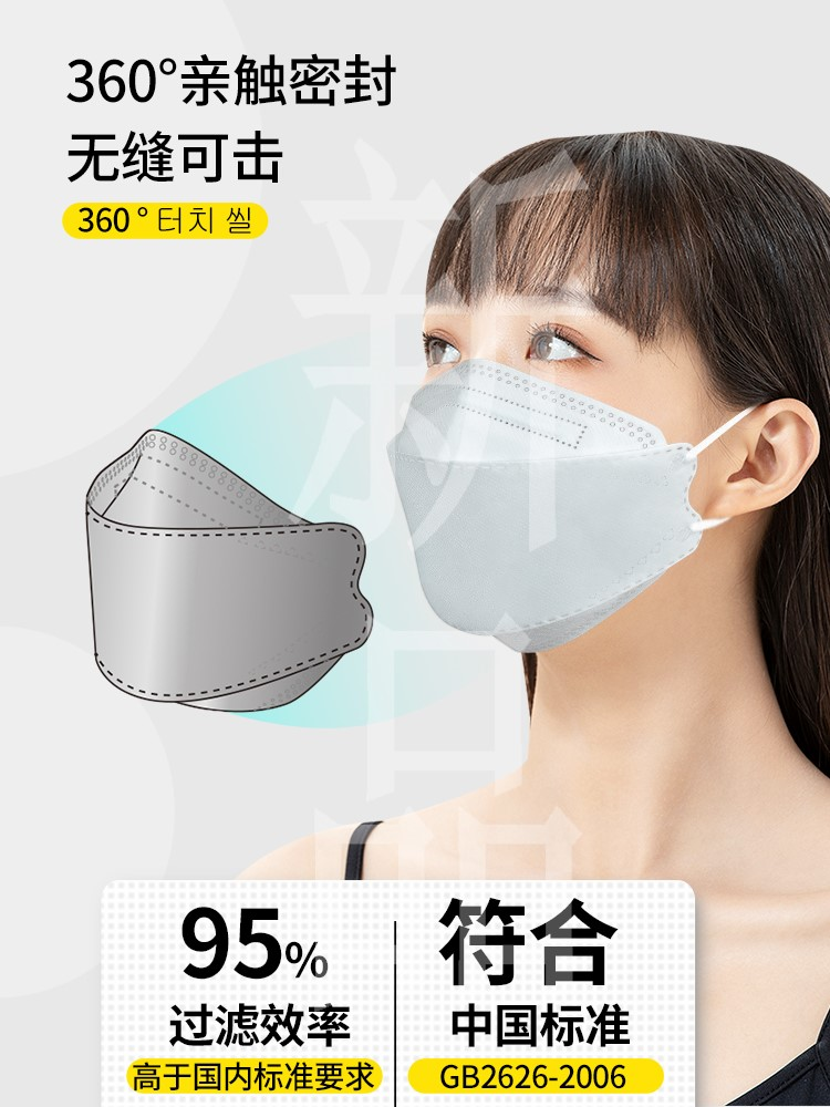 Kn95 disposable dustproof 3D thin breathable black Korean protective N95 willow leaf mask