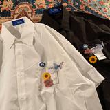 游蜂与蝴蝶 来往自多情 学院风小清新贴布蝴蝶短袖衬衫基础dk制服