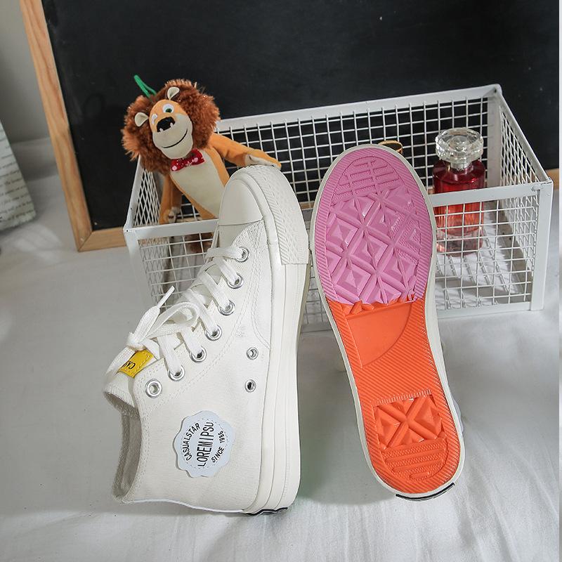 女童高帮布鞋女士帆布靴软底低筒遇到紫外线遇光就会变色的板鞋子