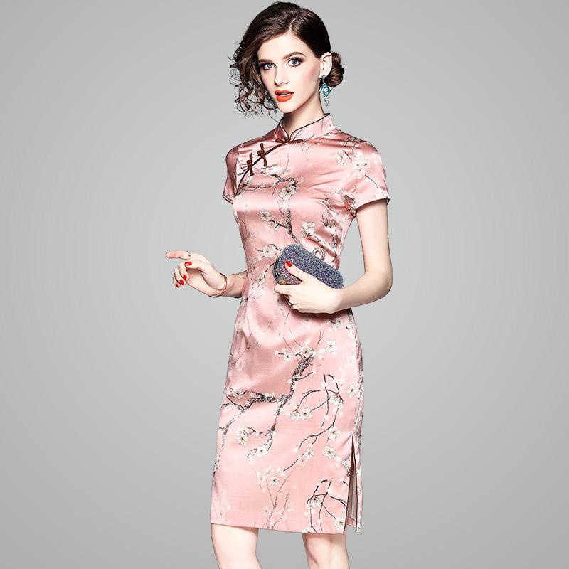 限9000张券小个子真丝短裙桑蚕丝旗袍改良版连衣裙年轻款时尚s改版修身中裙