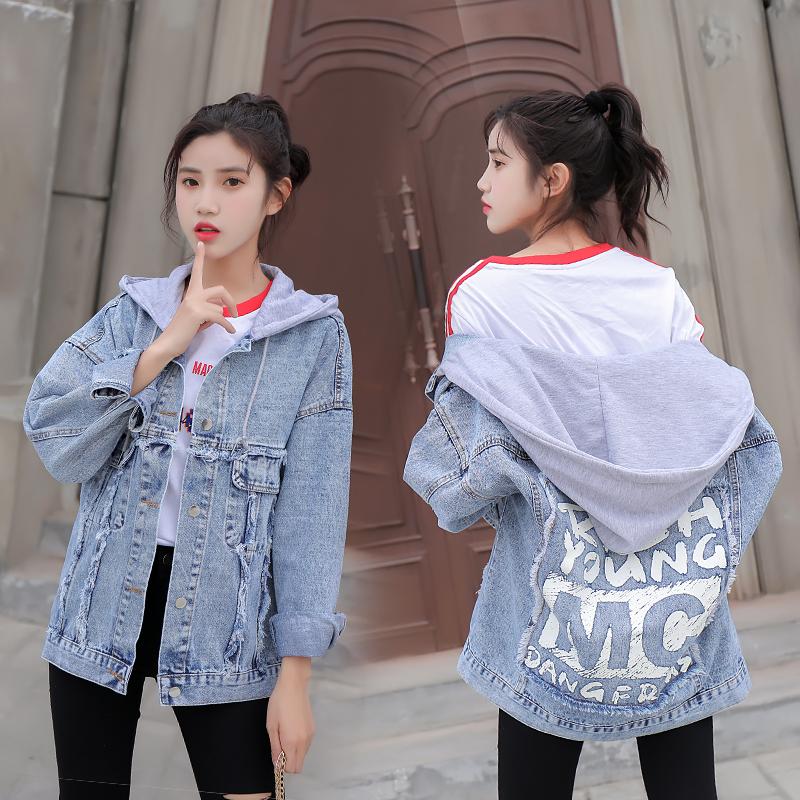 实拍牛仔外套女长袖2018秋季新款宽松学生韩版bf百搭夹克上衣潮