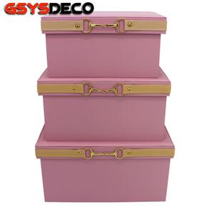 粉色皮质储物盒 样板房衣帽间女孩房收纳箱家居整理收纳盒带盖子