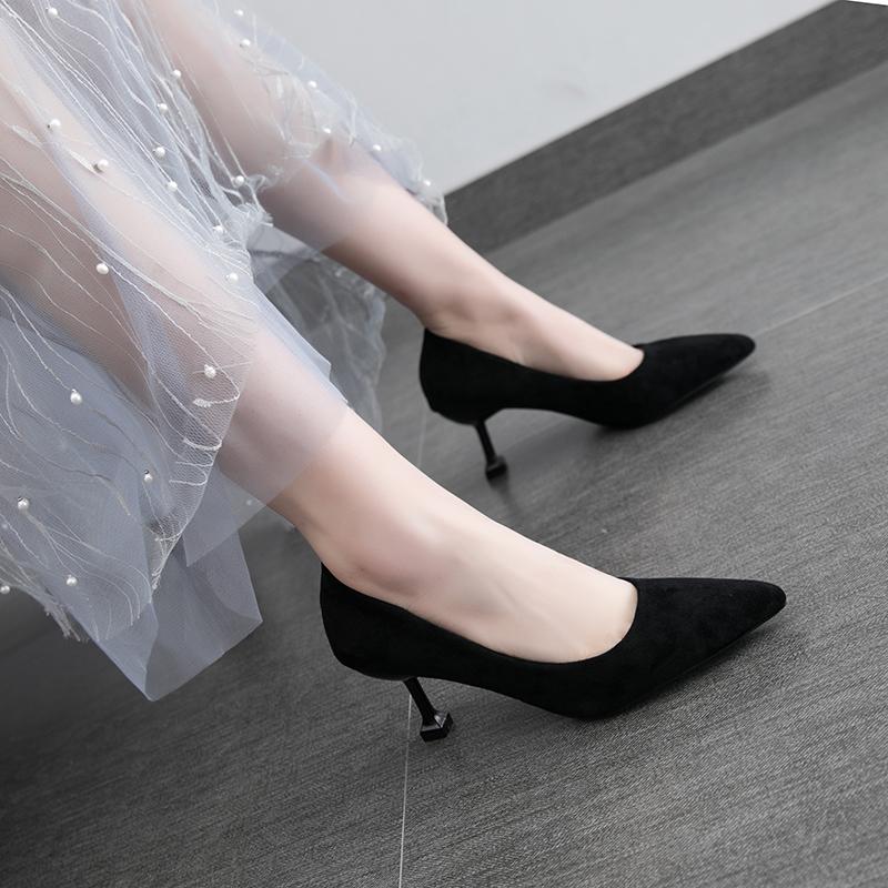 韩版小清新少女猫跟细跟性感高跟鞋(非品牌)