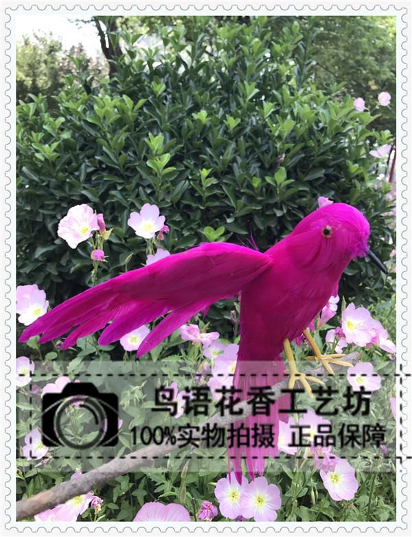 仿真羽毛红色展翅鸟小鸟模型鸟笼装饰假鸟摄影道具园林家庭摆件