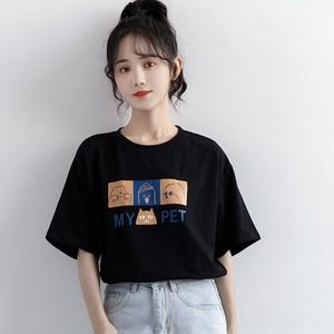 2021夏季卡通印花黑色简约短袖t恤