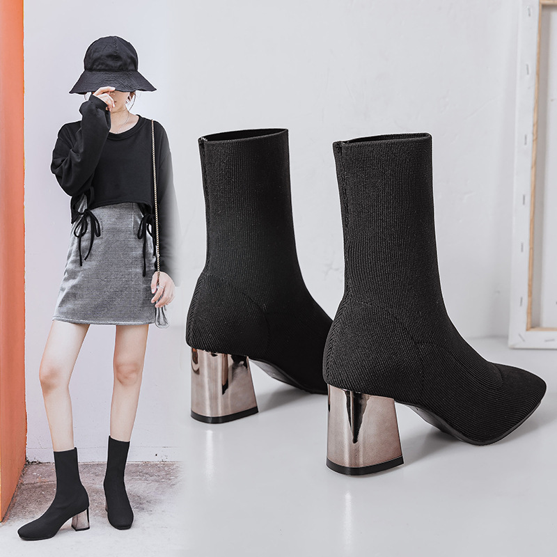 Korean version of summer hollow high heels womens thin heels bow middle heels pointed fashion banquet womens shoes single shoes womens fashion