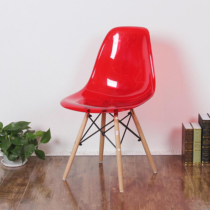 北欧设计师椅透明塑料靠背餐椅伊姆斯椅子现代休闲创意椅咖啡厅椅