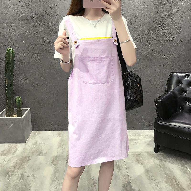 18夏日韩版女装大码宽松显瘦甜美小清新少女闺蜜装吊带短裙背带裙