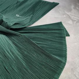 高档墨绿肌理挺括三宅一生压褶皱设计师时装艺术服装硬挺化纤布料