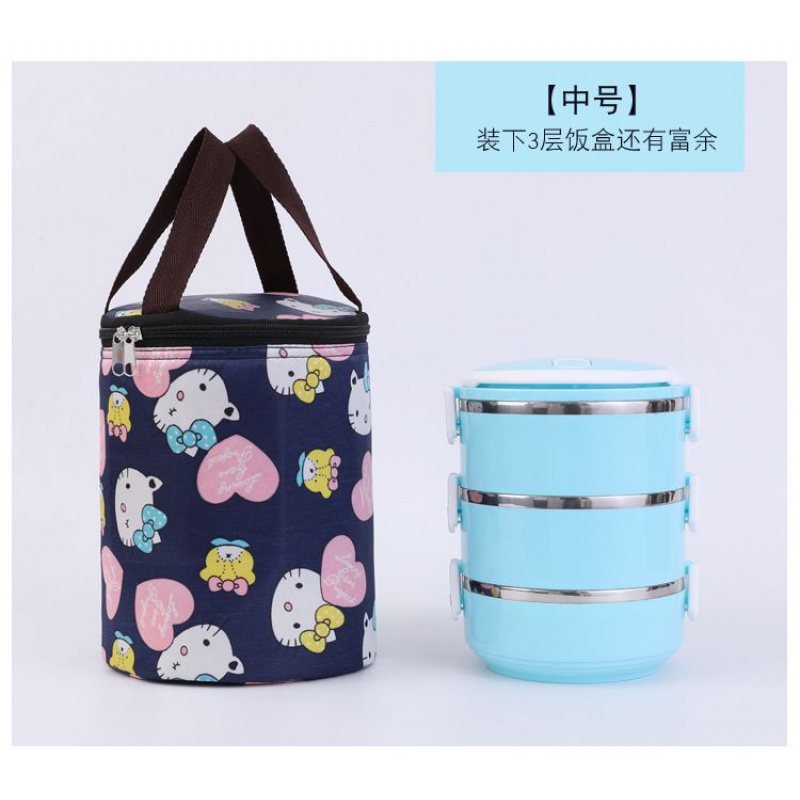。 Thermos bucket lunch box bag portable round ins round barrel rice barrel heat preservation bag packaging instant bag with rice bag