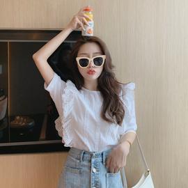 法式小众蕾丝花边拼接中袖衬衫女韩版宽松复古chic洋气短袖上衣潮