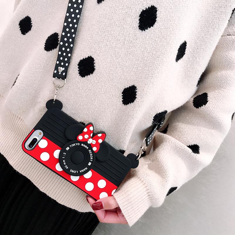 卡通硅胶相机斜挎挂绳苹果XsMax手机壳Xr创意iphone8/7plus防摔612月03日最新优惠