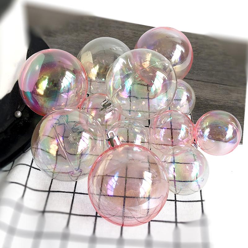 生日装饰ins唯美粉色炫彩透明球 圣诞节蛋糕派对创意甜品台插件