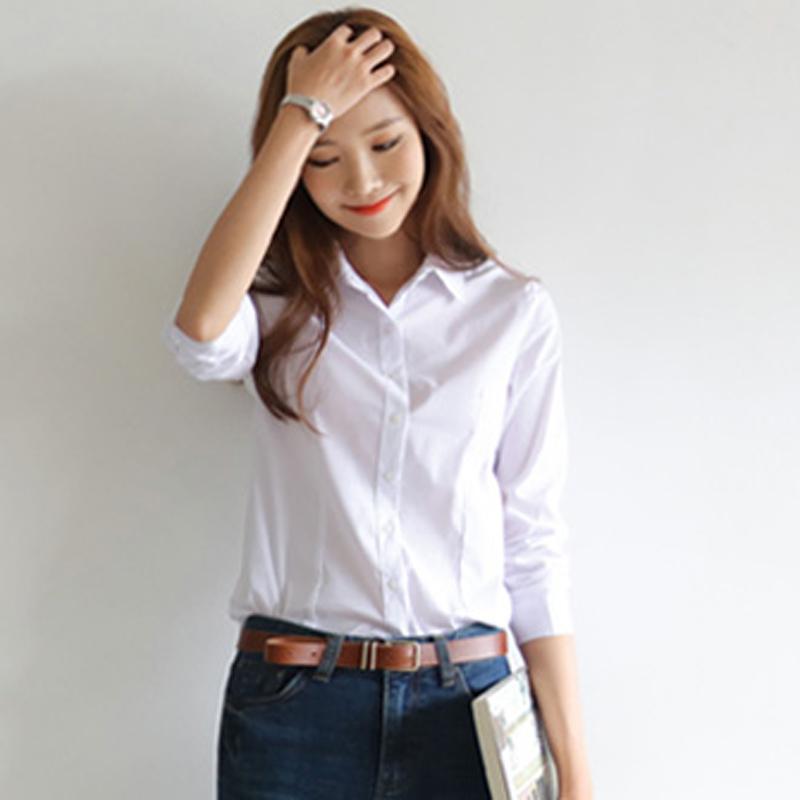 春秋新款白色长袖修身女衬衫韩范学院风百搭上衣衬衣职业打底衫潮