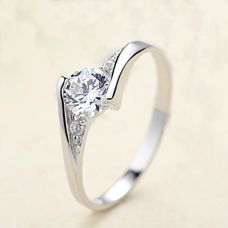 Ring womens single ring pure silver S925 living diamond ring