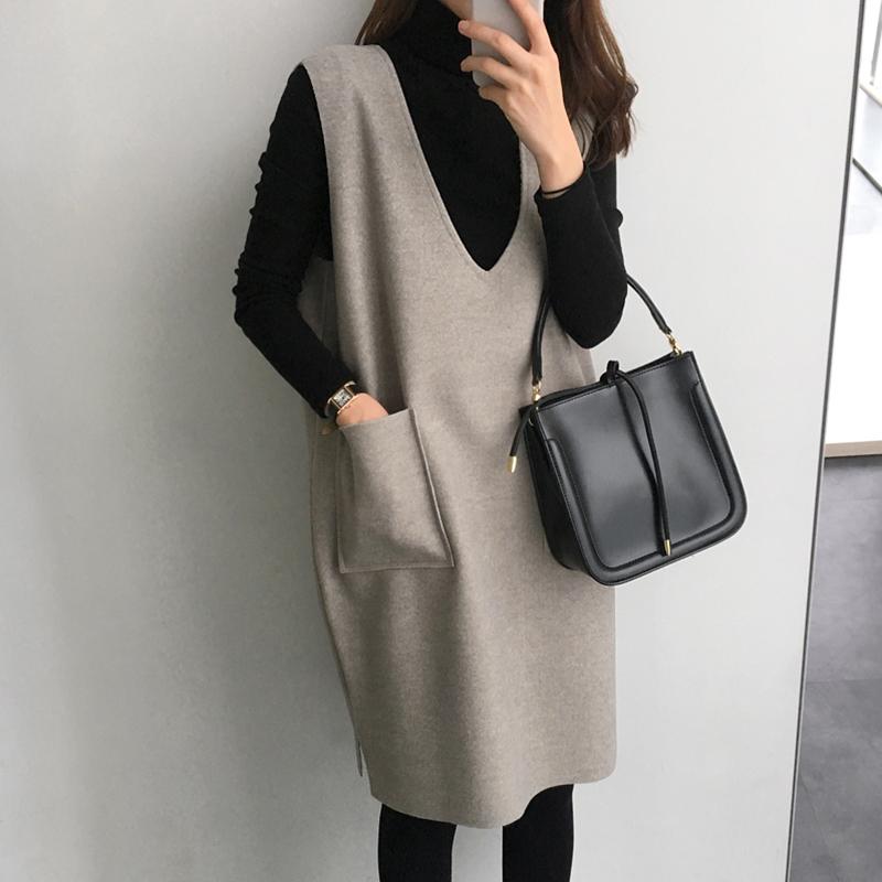 毛呢背心裙女秋冬2018新款中长款马甲裙子打底连衣裙套装裙两件套