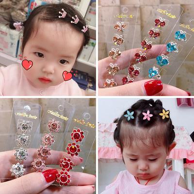 韩国儿童盘发水钻发扣不伤发女童水晶编发夹子头饰发夹豆豆扣抓夹