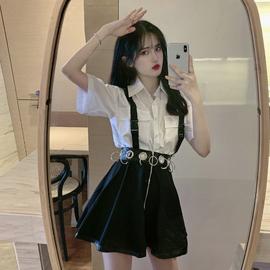 2020新款黑色半身裙夏季韩版女装高腰显瘦复古A字裙短裙学生裙子图片