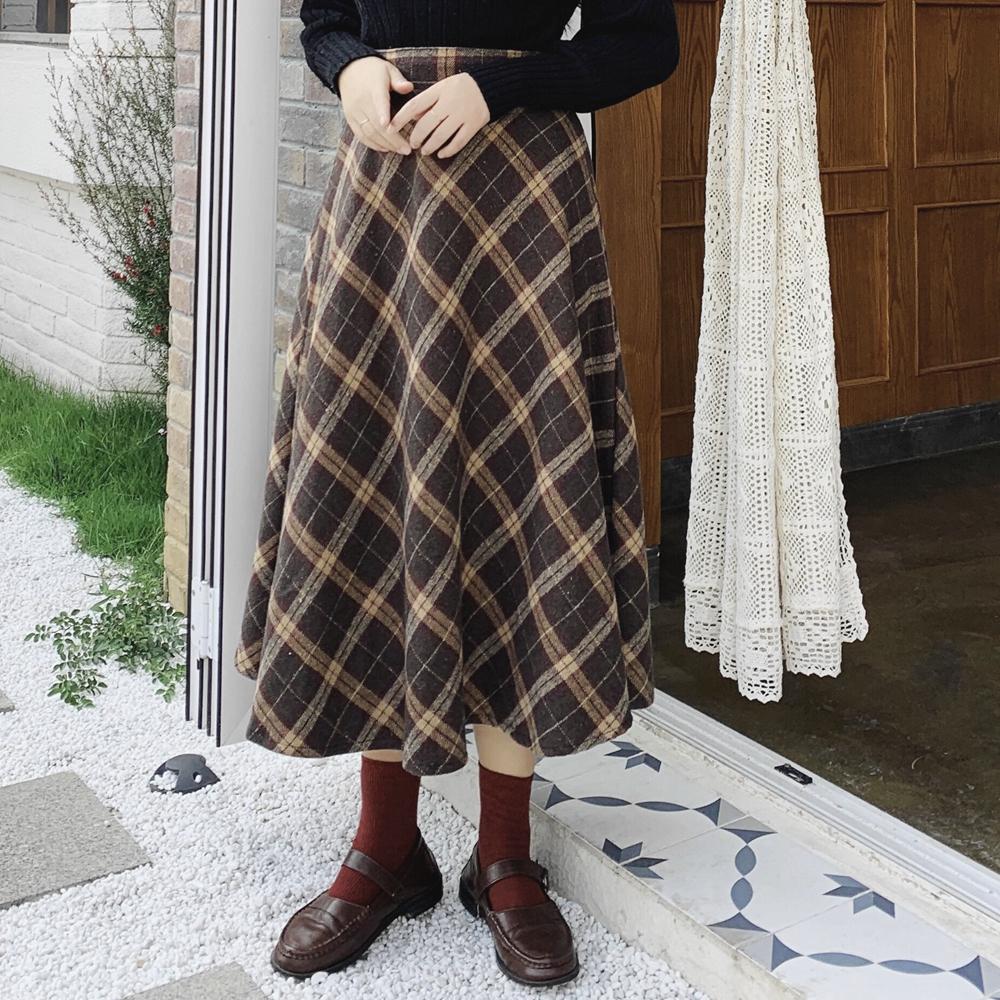 2019秋冬新款复古毛呢格子A字半身裙女学生高腰中长款呢子长裙子(非品牌)