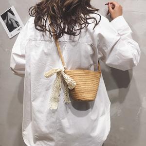 草编包包女包新款2021少女迷你编织水桶包沙滩夏天百搭单肩斜挎包
