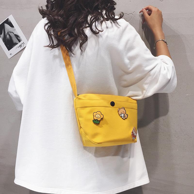 帆布包包女潮2020新款日系可爱水桶包ins百搭学生休闲单肩斜挎包