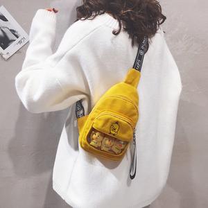 胸包女斜跨百搭包包女包新款2019可爱卡通帆布包少女单肩斜挎包潮