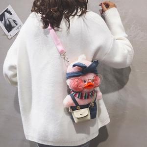毛绒包包女包新款2019可爱玻尿酸鸭卡通包链条玩偶丑萌单肩斜挎包