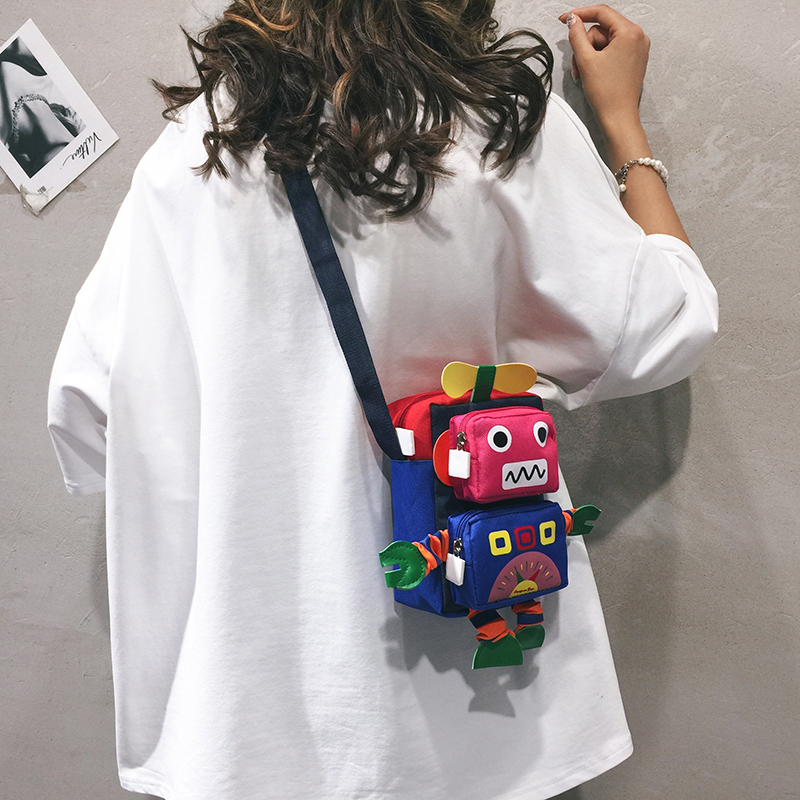 帆布小包包女包新款2020个性卡通搞怪小布包儿童可爱单肩斜挎包潮图片