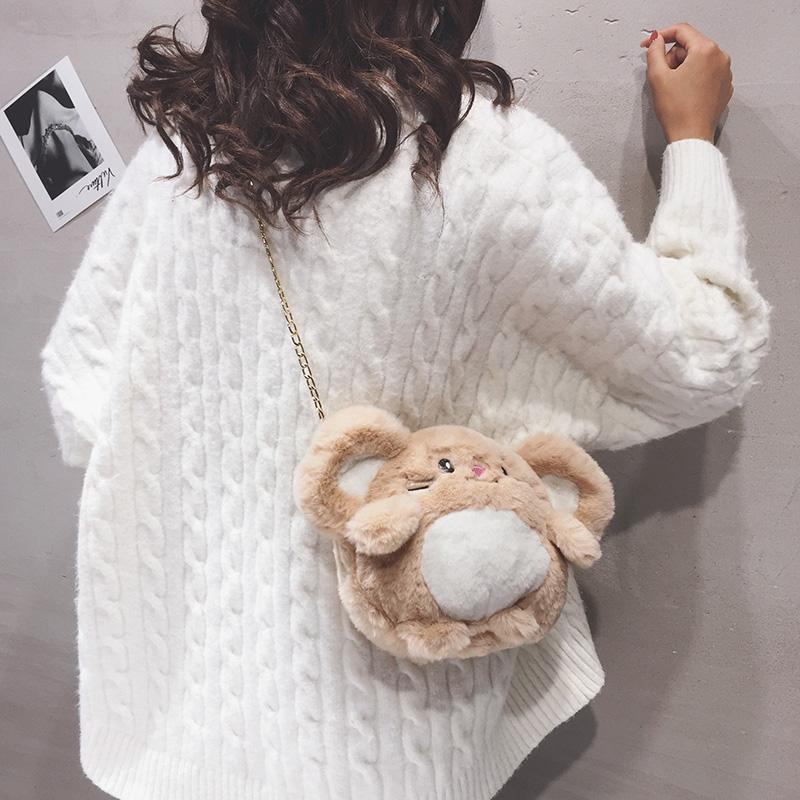可爱少女毛绒包包女2020秋冬新款软萌毛毛卡通百搭链条单肩斜挎包