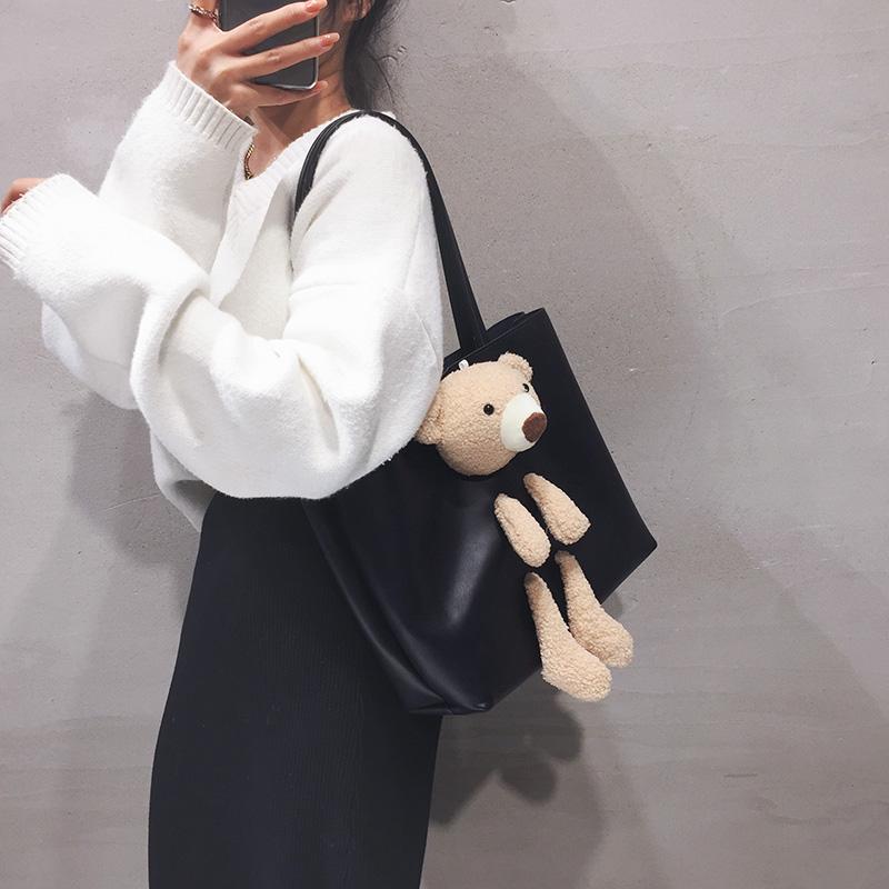 可爱小熊大容量包包女2020新款韩版ins网红单肩大包慵懒风手提包